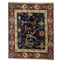 Vintage Tibetan Area Rug with Persian Serapi All Over Design