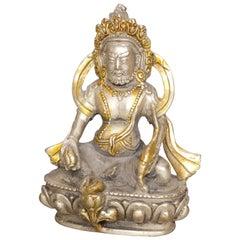 Vintage Tibetan Buddha Silver and Gold Gilt Bronze Sculpture, circa 1930