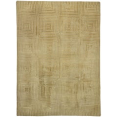 Vintage Tibetan Greek Key Textured Rug with Mid-Century Modern Style