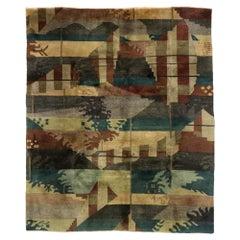 Vintage Tibetan Rug with Modern Abstract Biophilic Design