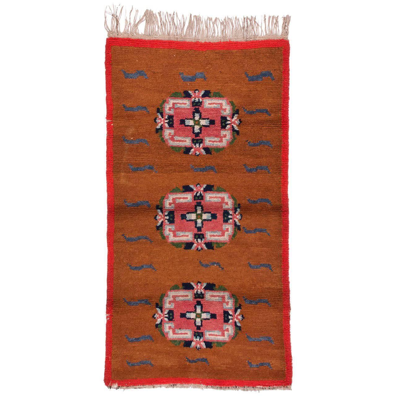 Antique Tibetan Rug with Tiger Stripes 2.6x4.7