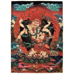 Vintage Tibetan Thangka Painting, Protection God Hayagriva Thanka