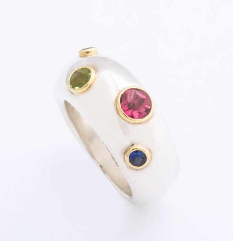 Contemporary Vintage Tiffany & Co. Sterling Silver and 18 Karat Gem Set Ring For Sale