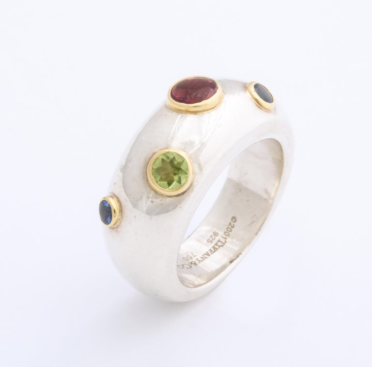 Vintage Tiffany & Co. Sterling Silver and 18 Karat Gem Set Ring In Excellent Condition For Sale In Stamford, CT