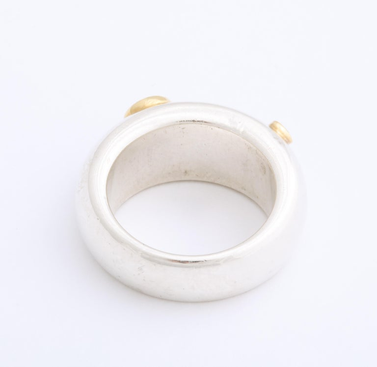 Women's or Men's Vintage Tiffany & Co. Sterling Silver and 18 Karat Gem Set Ring For Sale
