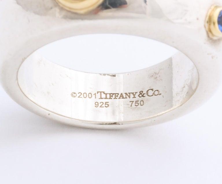 Vintage Tiffany & Co. Sterling Silver and 18 Karat Gem Set Ring For Sale 1
