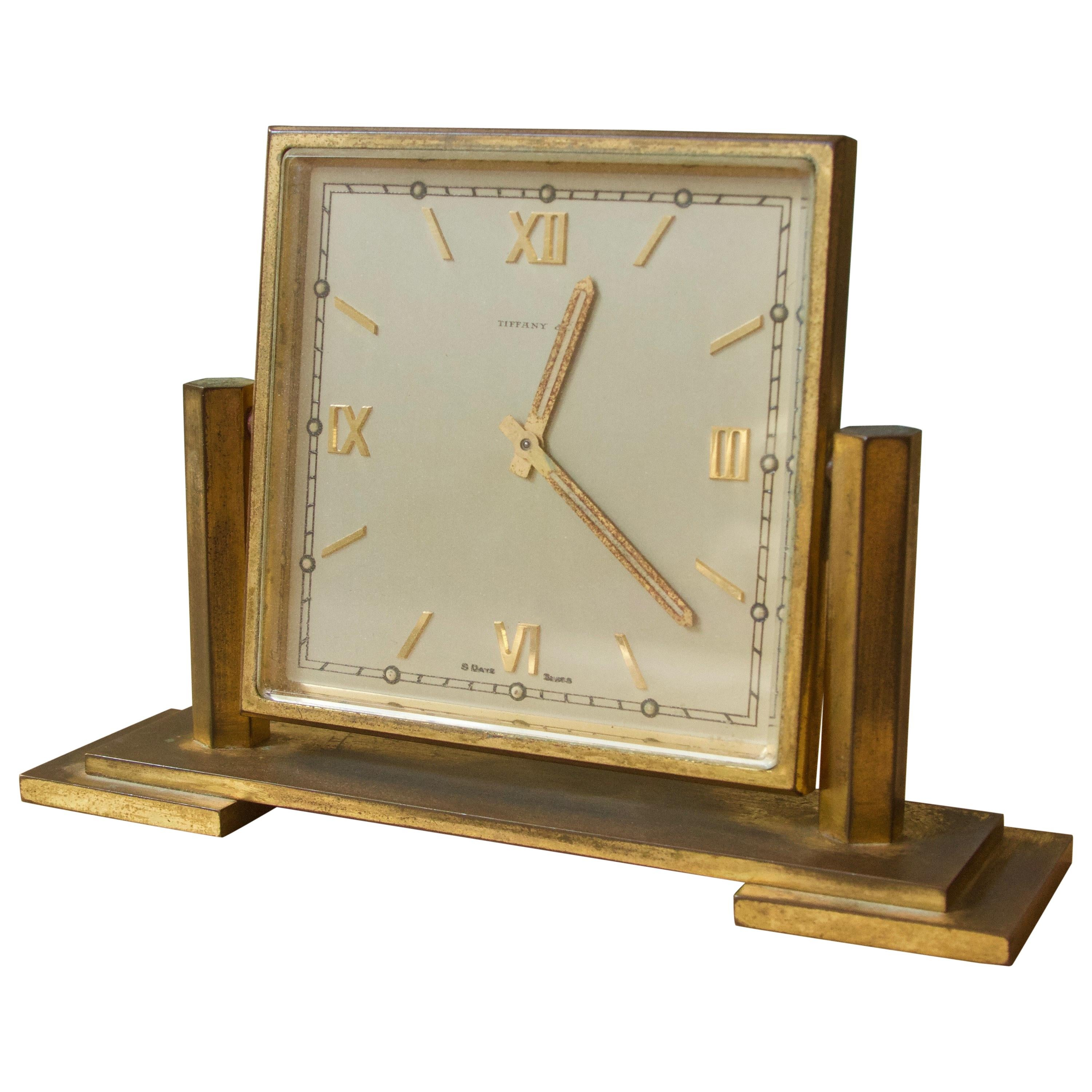 Vintage Tiffany and Co. Square Brass Desk Clock, 1970s