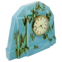 Vintage Tiffany Blue Art Deco Ceramic Mantel Clock
