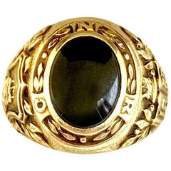 Vintage Tiffany & Co. 14K Nautical Motif Yellow Gold and Onyx Signet Ring, 1938