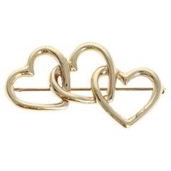 Vintage Tiffany & Co 14K Yellow Gold Triple Heart Brooch Pin 7.7g