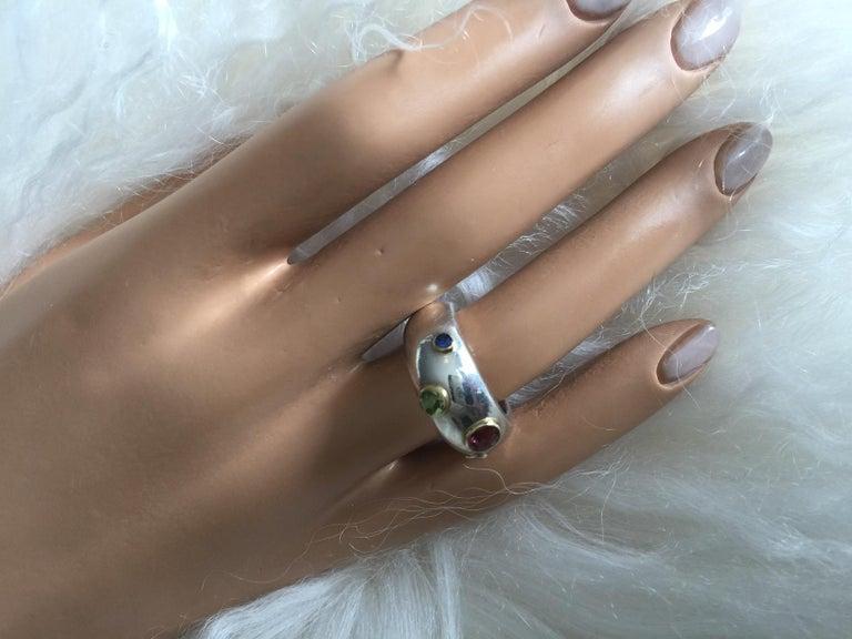 Vintage Tiffany & Co. Sterling Silver and 18 Karat Gem Set Ring For Sale 2