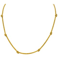 Vintage Tiffany & Co. 18 Karat Gold Knot Station Necklace