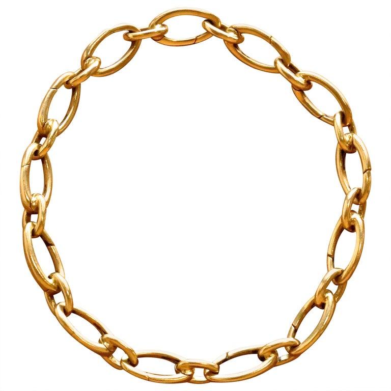 Vintage Tiffany & Co. 18 Karat Gold Link Charm Holder Bracelet For Sale