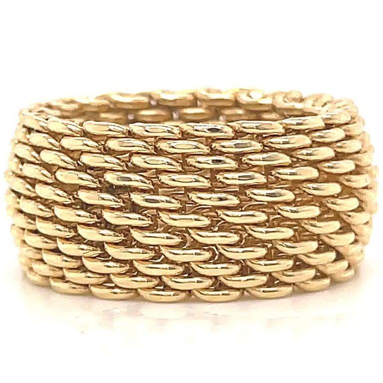 Women's Vintage Tiffany & Co. 18 Karat Gold Mesh Band Ring For Sale