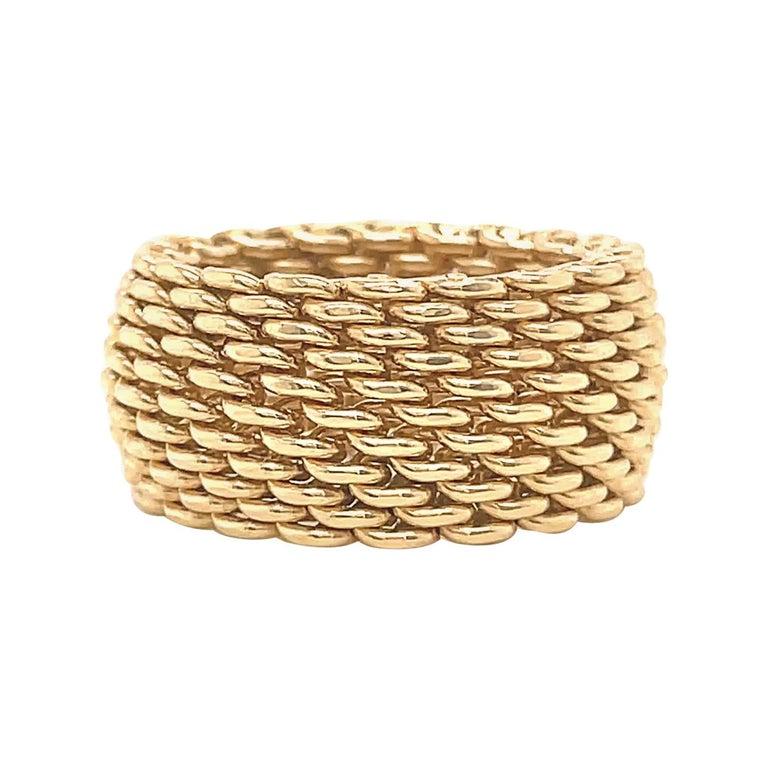 Vintage Tiffany & Co. 18 Karat Gold Mesh Band Ring For Sale