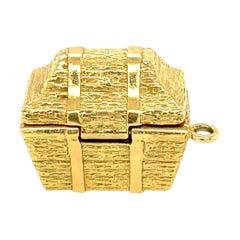 Vintage Tiffany & Co. 18 Karat Gold Treasure Chest Charm with Gems
