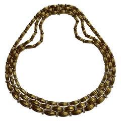 Vintage Tiffany & Co. 18 Karat Yellow Gold and Diamond Three Row Necklace