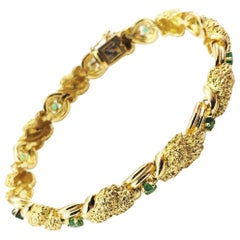 Vintage Tiffany & Co. 18 Karat Yellow Gold and Emerald Bracelet