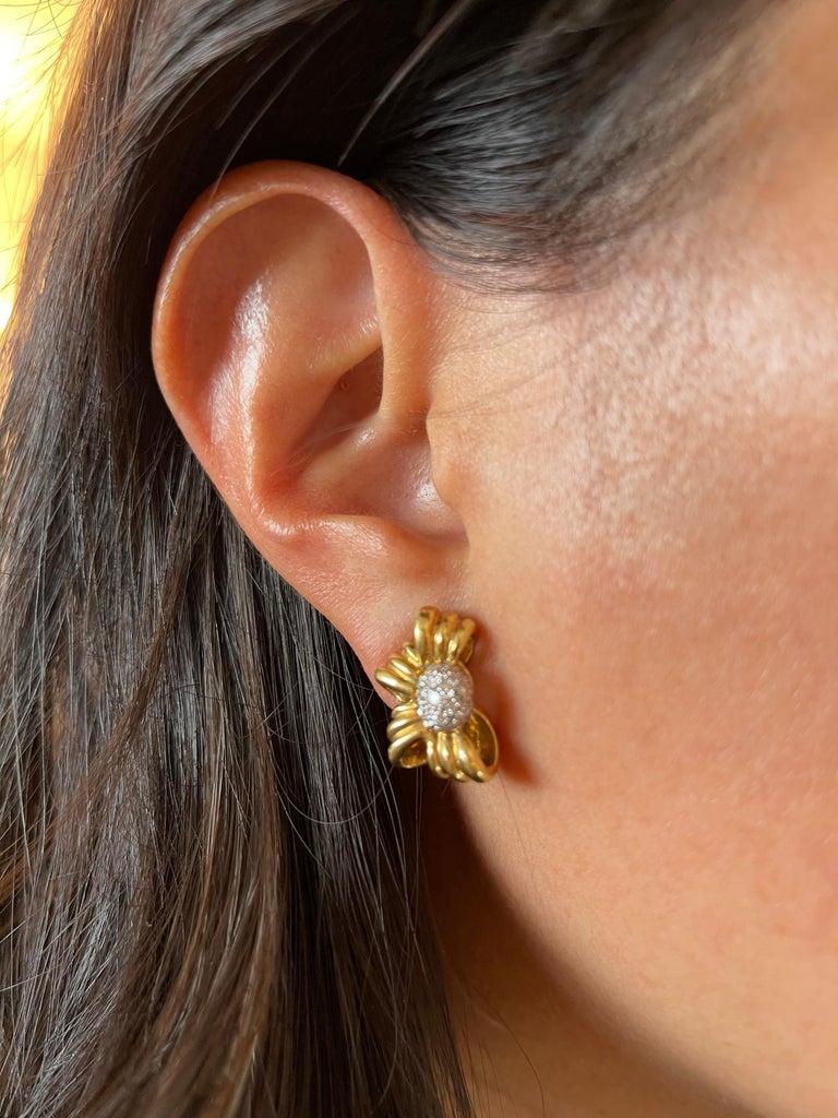 Modern Vintage Tiffany & Co. 18 Karat Yellow Gold Diamond Bow Earrings For Sale