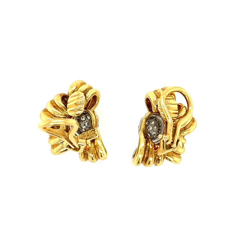 Round Cut Vintage Tiffany & Co. 18 Karat Yellow Gold Diamond Bow Earrings For Sale