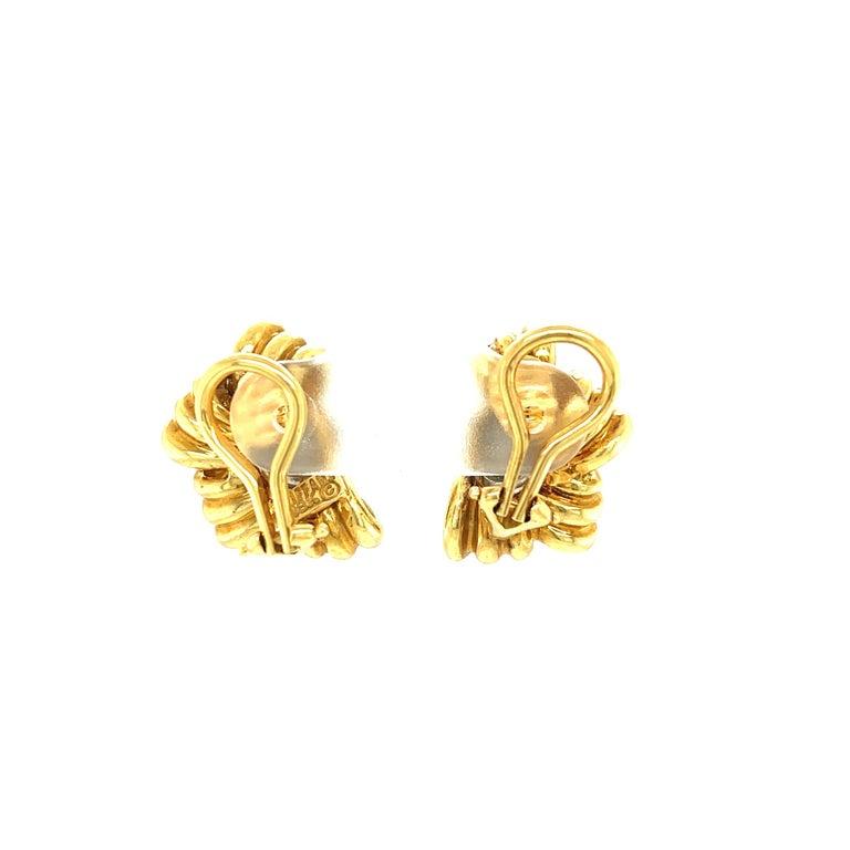 Women's or Men's Vintage Tiffany & Co. 18 Karat Yellow Gold Diamond Bow Earrings For Sale