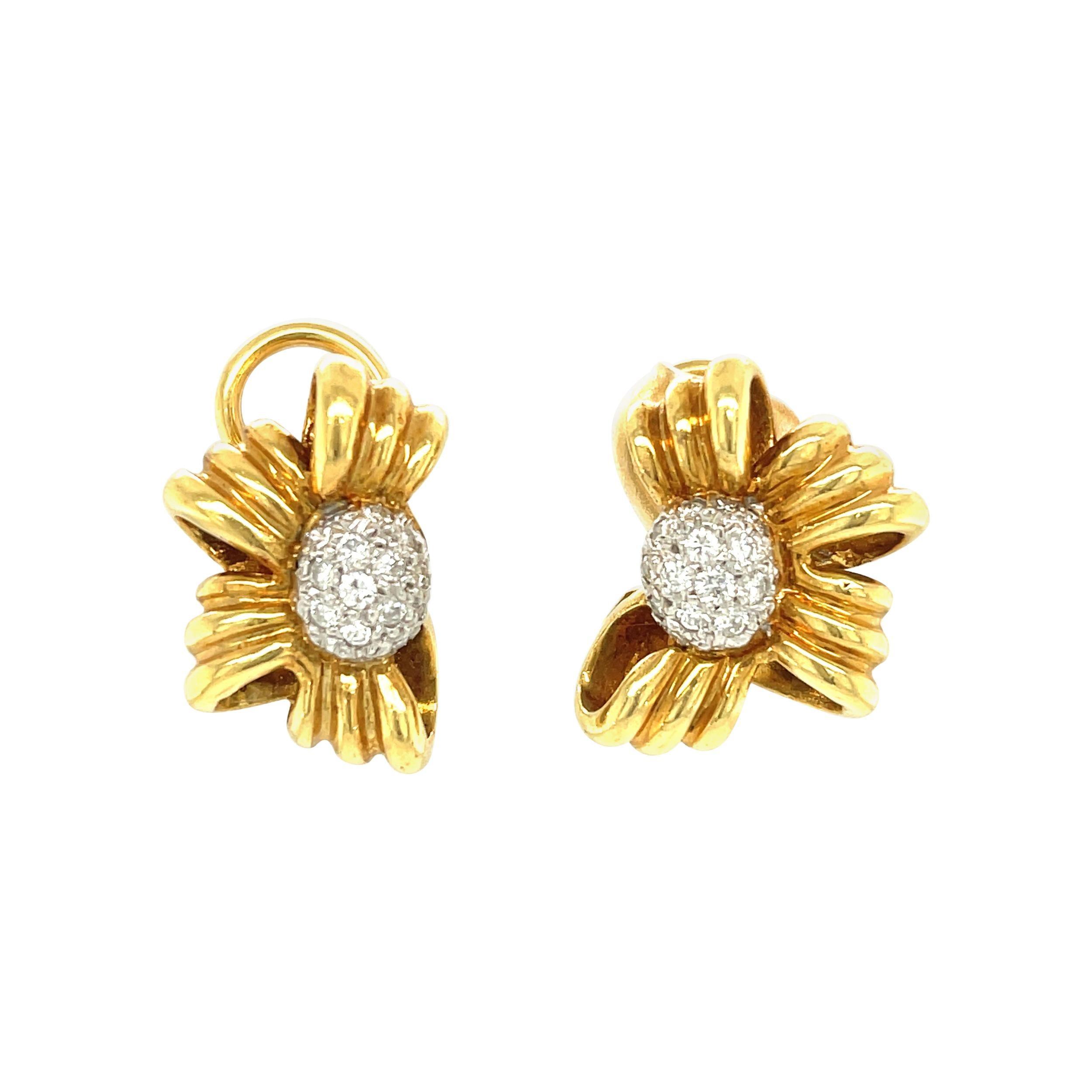 Vintage Tiffany & Co. 18 Karat Yellow Gold Diamond Bow Earrings
