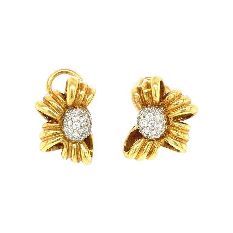 Vintage Tiffany & Co. 18 Karat Yellow Gold Diamond Bow Earrings For Sale