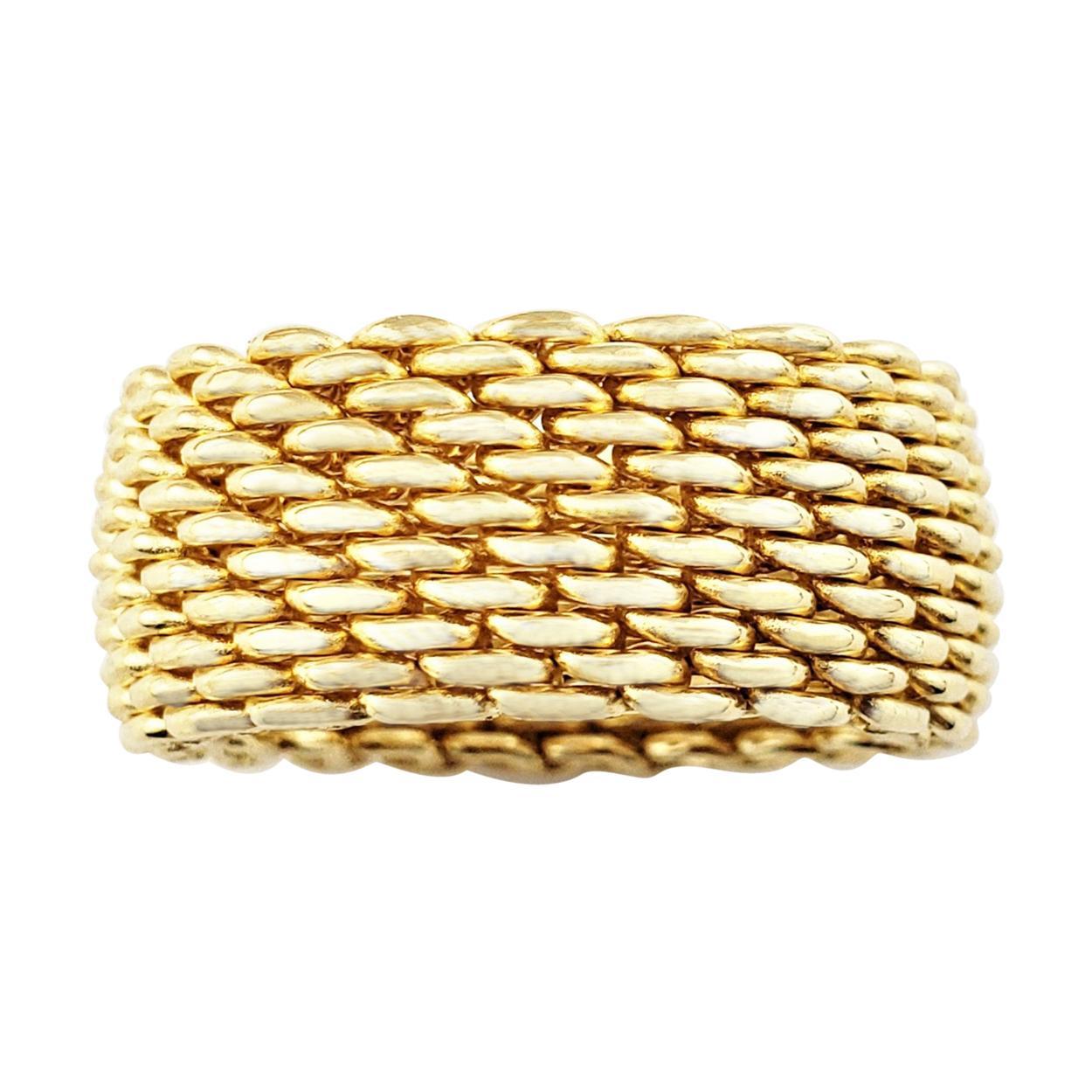 Vintage Tiffany & Co. 18 Karat Yellow Gold Mesh Band Ring