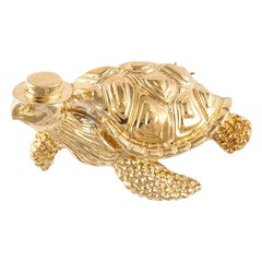 Vintage Tiffany & Co. 18 Karat Yellow Gold Turtle Pin