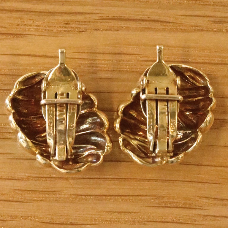 Vintage Tiffany & Co. 18 Karat Gold Clip-On Earrings In Excellent Condition For Sale In Beverly Hills, CA