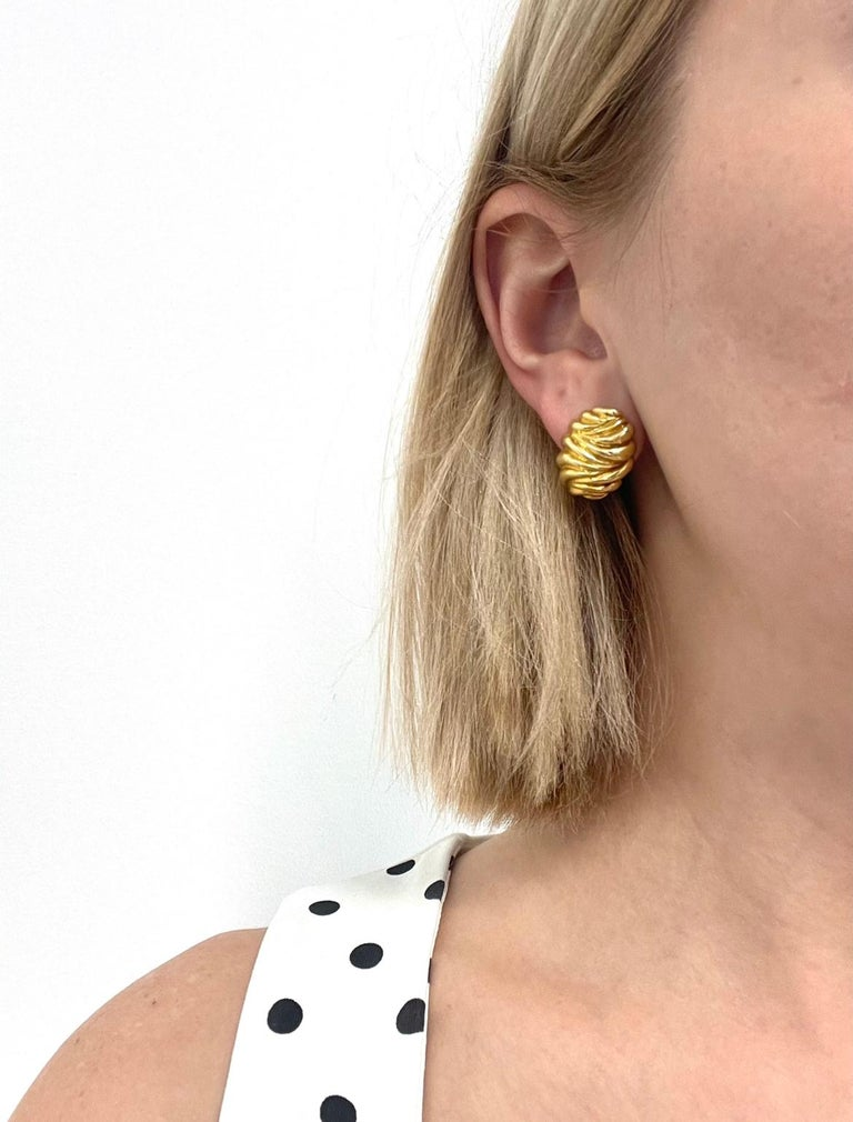 Vintage Tiffany & Co. 18 Karat Gold Clip-On Earrings For Sale 1