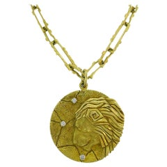 Vintage Tiffany & Co. 18k Gold Leo Pendant Necklace Zodiac