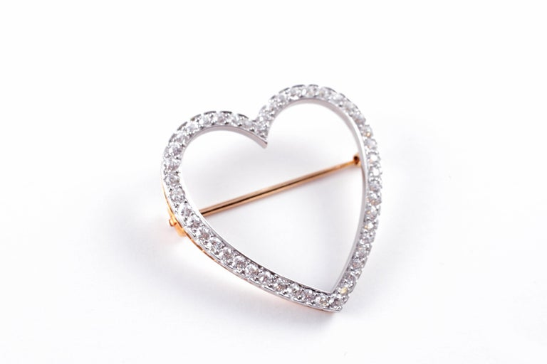Old European Cut Vintage Tiffany & Co. 2.30 Carat Diamond Heart Brooch For Sale