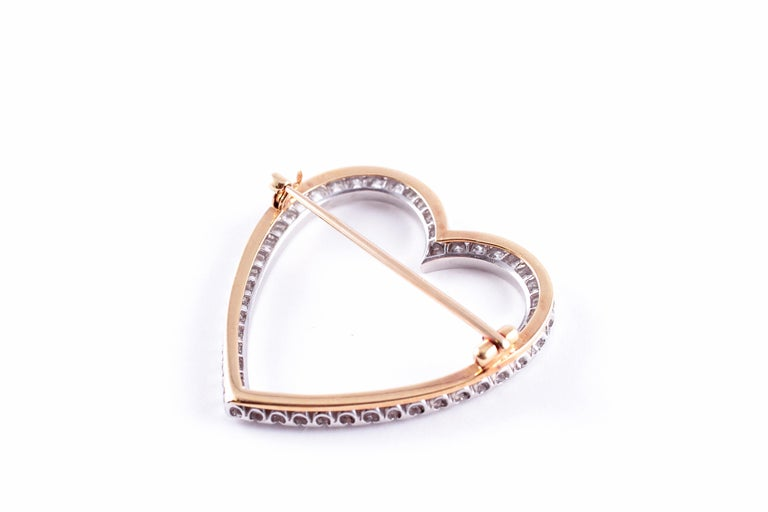 Vintage Tiffany & Co. 2.30 Carat Diamond Heart Brooch For Sale 2