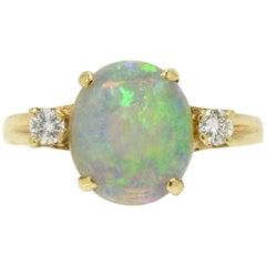 Vintage Tiffany & Co. 3-Stone Ring Opal and Diamond Ring Midcentury Estate