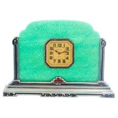Vintage Tiffany & Co. Art Deco Sterling Silver Enamel Table Clock