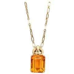 Vintage Tiffany & Co. Citrine Pendant with 18 Karat Gold Chain Necklace