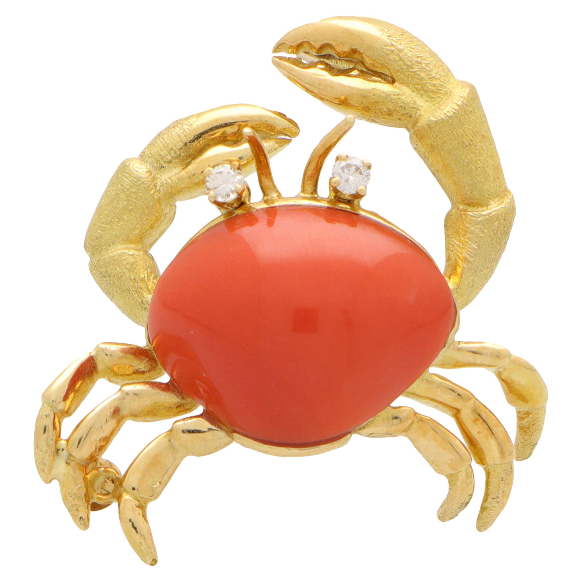 Vintage Tiffany & Co. Coral and Diamond Crab Brooch Pin Set in 18k Yellow Gold