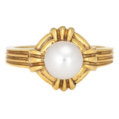 Vintage Tiffany & Co Cultured Pearl Ring 18 Karat Gold Fine Signed Jewelry