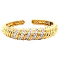 Vintage Tiffany & Co. Diamond 18 Karat Gold Bangle