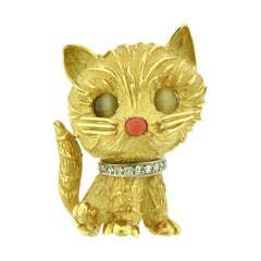Vintage Tiffany & Co. Diamond and Coral Cat Brooch in 18 Karat Yellow Gold