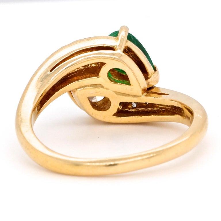 Women's Vintage Tiffany & Co. Diamond Emerald 18 Karat Bypass Toi et Moi Ring