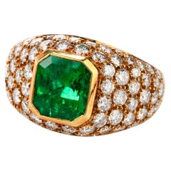 Vintage Tiffany & Co. Diamond GIA Emerald 18 Karat Cocktail Ring