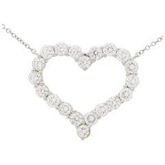 Vintage Tiffany & Co. Diamond Heart Pendant Necklace Set in Platinum