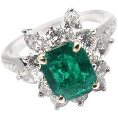 Vintage Tiffany & Co. Diamond Irid Platinum Emerald Cocktail Ring