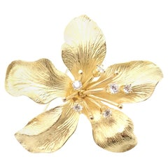 Vintage Tiffany & Co Diamond Lily Flower Yellow Gold Brooch Pin