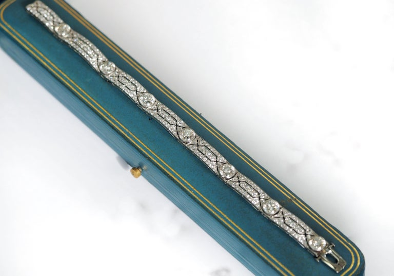 Vintage Tiffany & Co. Diamond Platinum Deco Bracelet, circa 1915 For Sale 5