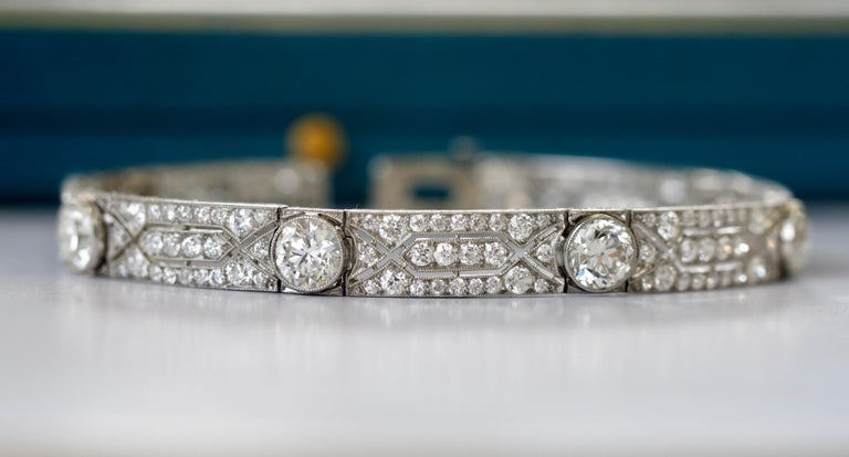 Art Deco Vintage Tiffany & Co. Diamond Platinum Deco Bracelet, circa 1915 For Sale