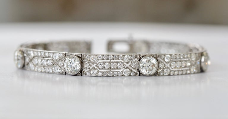 Old European Cut Vintage Tiffany & Co. Diamond Platinum Deco Bracelet, circa 1915 For Sale