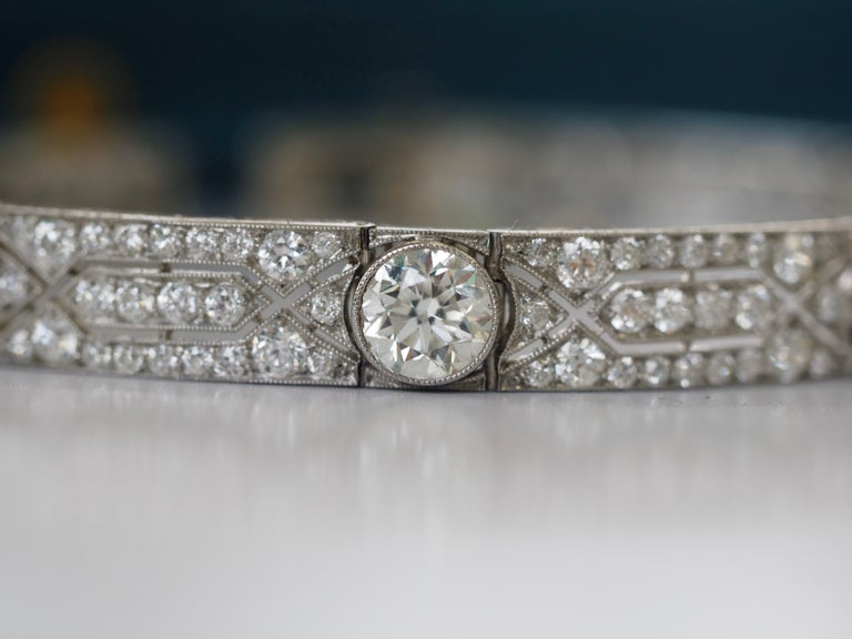 Vintage Tiffany & Co. Diamond Platinum Deco Bracelet, circa 1915 In Excellent Condition For Sale In Addison, TX